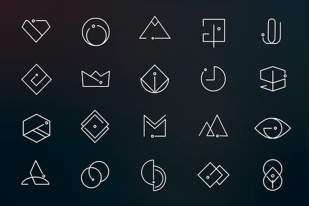 Minimal logo designs set Free Vector