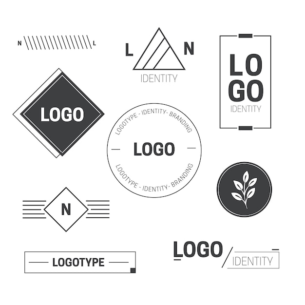 Minimal logo element collection in two colors Premium Vector