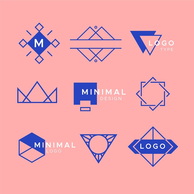 Minimal logo element collection in two colors Free Vector