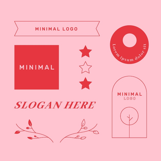 Minimal logo element collection in two colours Free Vector