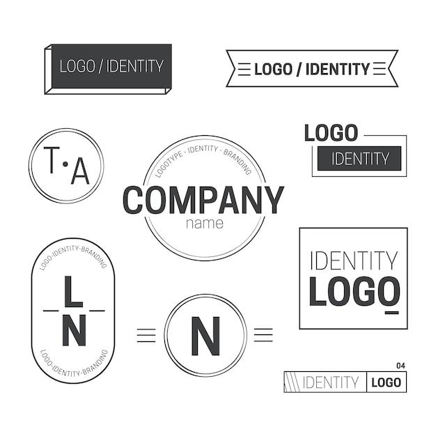 2色で設定された最小限のロゴ要素 無料ベクター