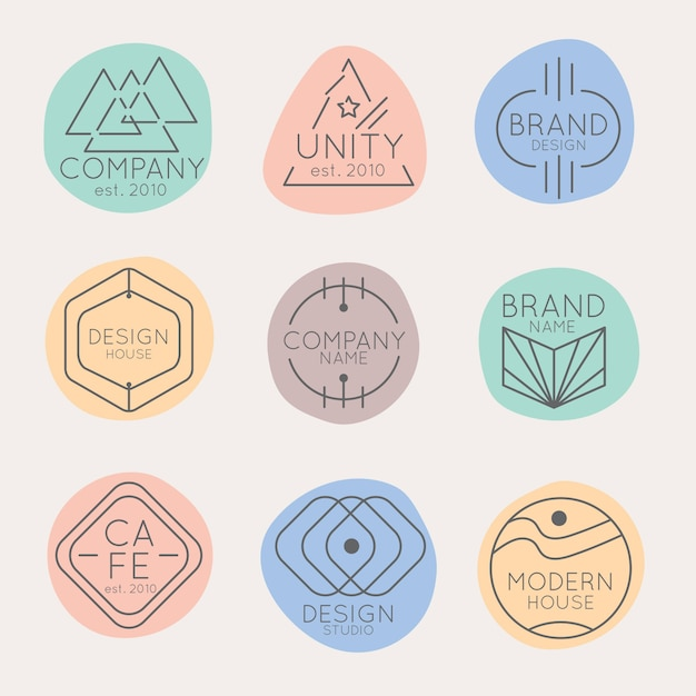 Minimal logo pack with pastel colors Free Vector