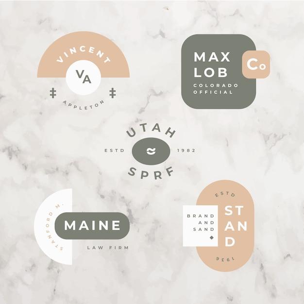 Minimal logo set on marble background Free Vector