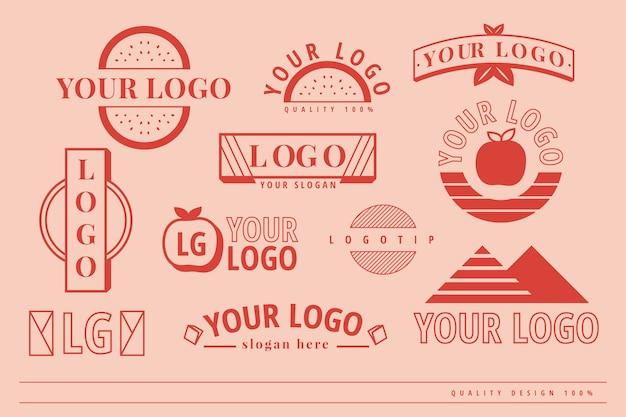 Minimal logo set template Free Vector