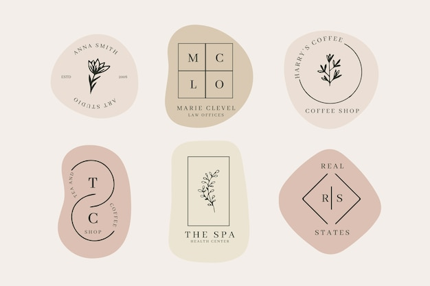 Minimal logo set with pastel colors Free Vector
