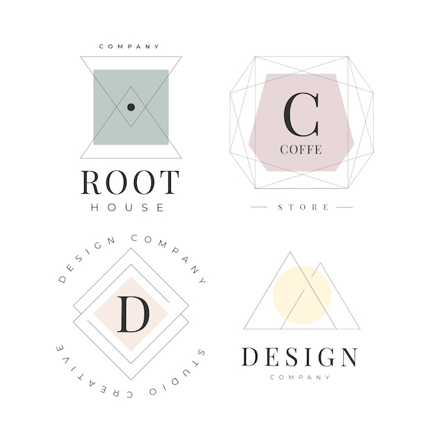 Minimal logo template set with pastel colors Free Vector