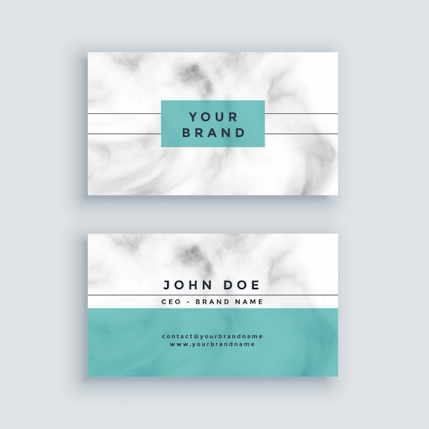 Minimal marble business card design Free Vector