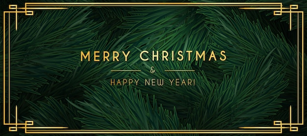Minimal merry christmas banner with gold ornaments Free Vector