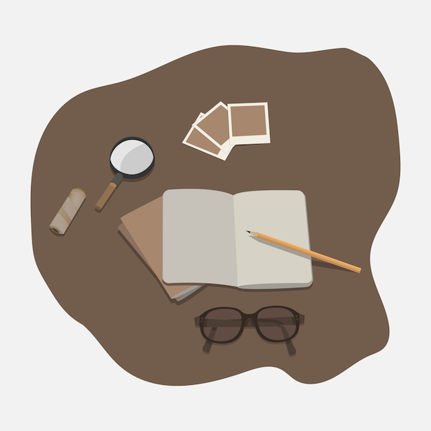 Minimal modern flat tabletop notebook spectacles magnifying glass Premium Vector