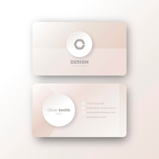 Minimal neumorph business card template Free Vector