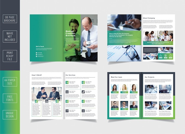 Minimal pages business brochure template Premium Vector