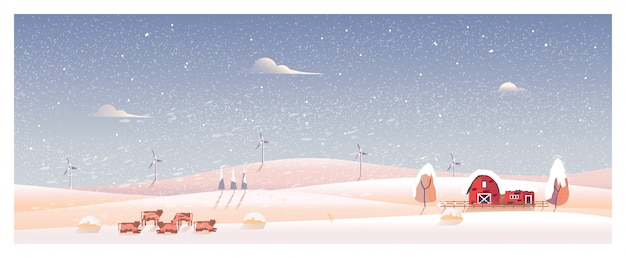 Minimal panorama illustration of countryside landscape in winter Premium Vector