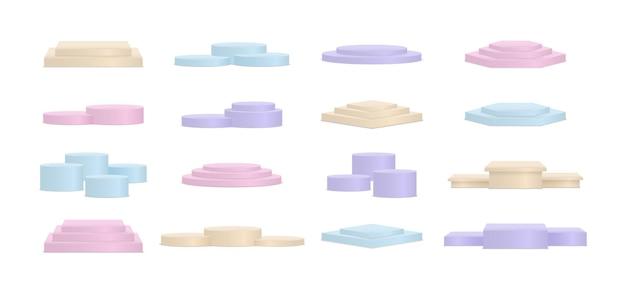 기하학적 형태의 최소 연단 색상. 프리미엄 벡터
