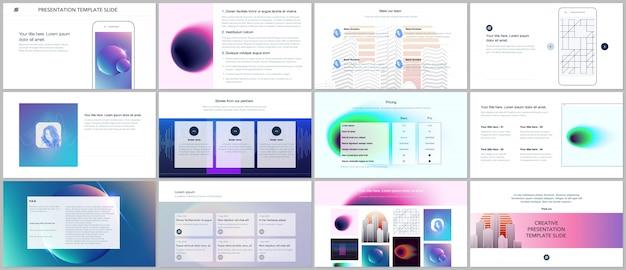 Minimal presentations, portfolio templates with colorful gradient blurs and geometric design Premium Vector