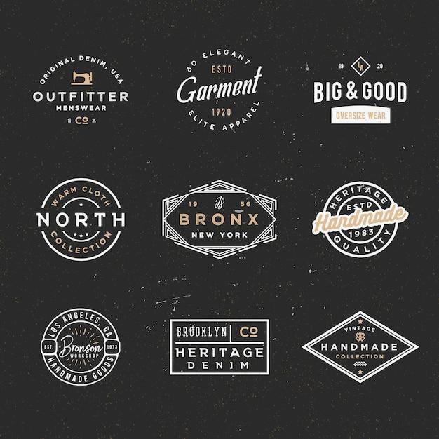 Minimal retro sale and discount badges, apparel labels Premium Vector