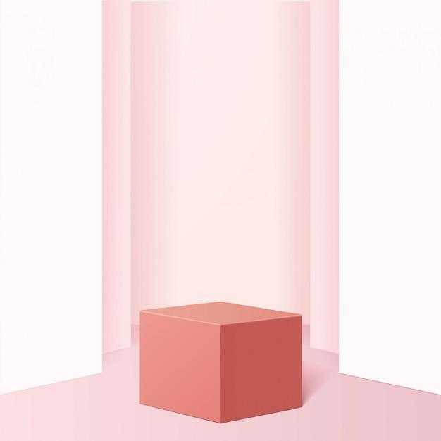 기하학적 형태의 최소 장면. 부드러운 분홍색 배경에서 큐브 연단입니다. 화장품, 쇼케이스, 상점, 진열장을 보여주는 장면. . 프리미엄 벡터