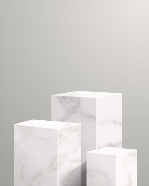 기하학적 형태의 최소 장면. 흰색 배경에서 실린더 및 큐브 대리석 연단. 화장품, 쇼케이스, 상점, 진열장 및 무대를 보여주는 장면. 3d 일러스트 레이 션. 프리미엄 벡터