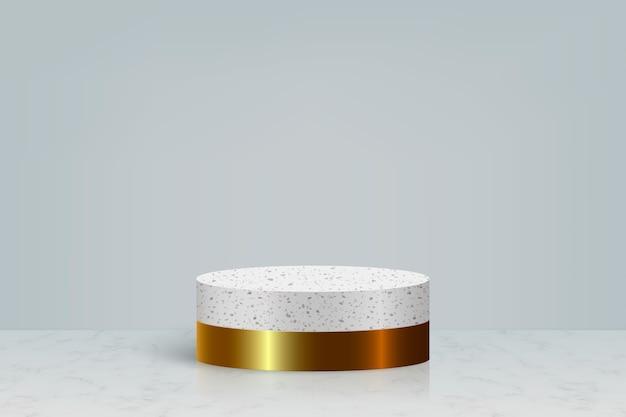 금 대리석 돌 연단, 화장품 제품 프리젠 테이션 배경이있는 최소한의 장면 프리미엄 벡터