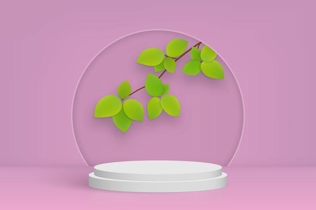 연단과 잎이있는 최소한의 장면, 화장품 제품 프리젠 테이션 분홍색 배경 프리미엄 벡터