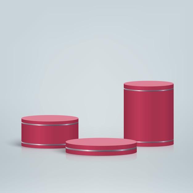 연단, 화장품 제품 프리젠 테이션 배경이있는 최소한의 장면 프리미엄 벡터