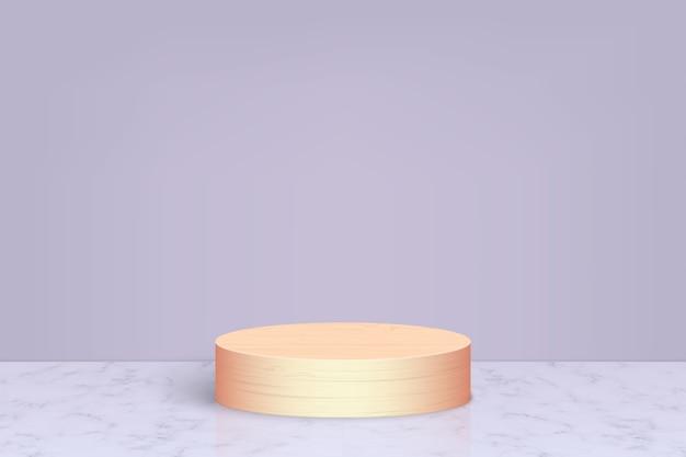 나무 연단, 화장품 제품 프리젠 테이션 배경이있는 최소한의 장면 프리미엄 벡터