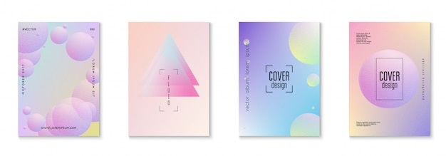 Minimal shapes cover set with holographic fluid Premium Vector
