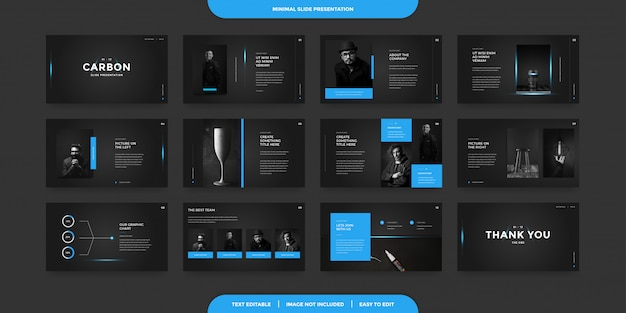 Minimal slides presentation template Premium Vector