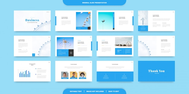 Minimal slides presentation template Premium Vector