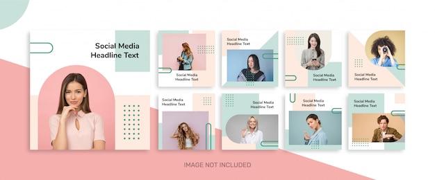 Минимальная коллекция шаблонов постов в социальных сетях для instagram Premium векторы