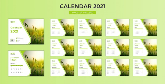 Minimal, stationary desk calendar 2021 template Premium Vector