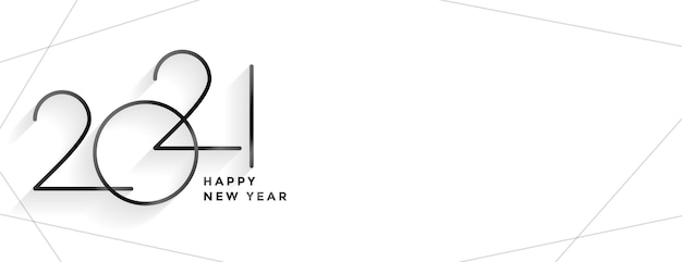 Minimal style 2021 happy new year clean banner design Free Vector
