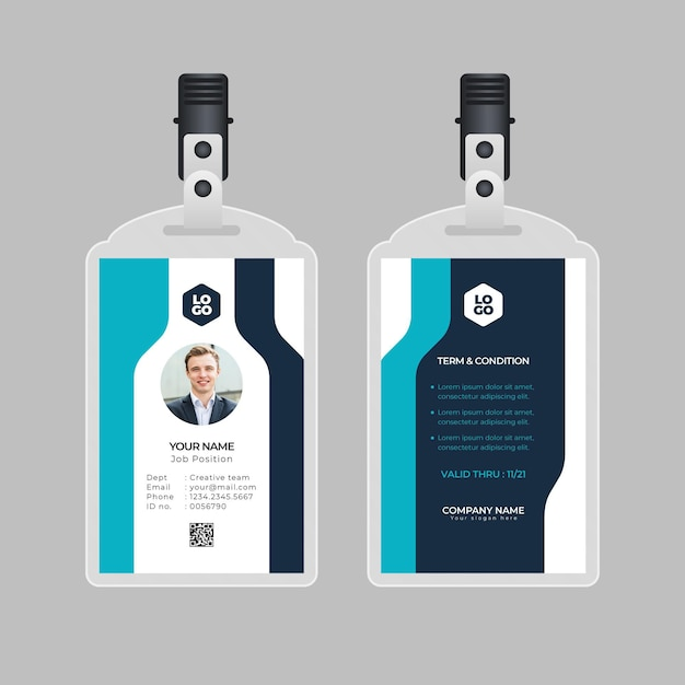 Minimal style id cards template with photo Free Vector