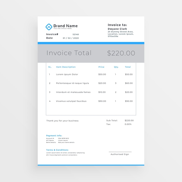 Minimal Style Invoice Template Design Free Vector  Invoice Style