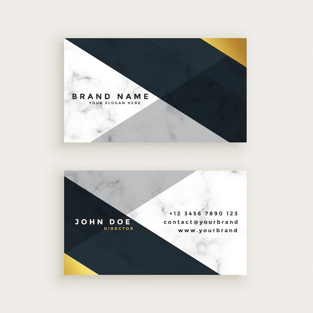 Minimal style marble business card design Free Vector