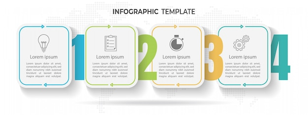 Minimal timeline infographic template 4 options or steps. Premium Vector