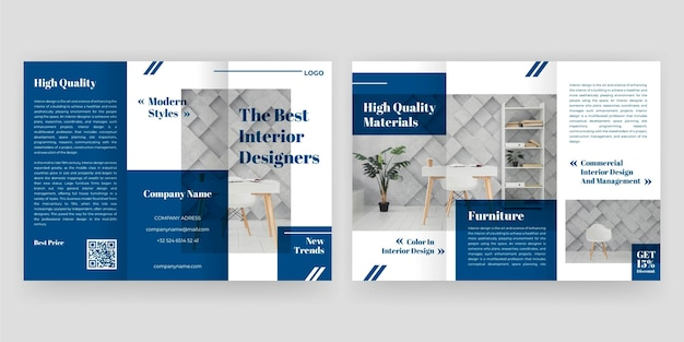 Minimal trifold brochure concept Free Vector