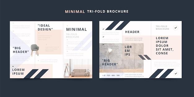 Минимальная тройная брошюра идеальный дизайн темы Бесплатные векторы