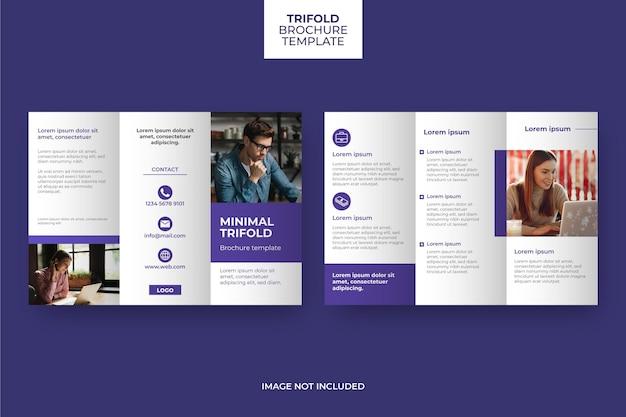 Minimal trifold brochure template design Premium Vector