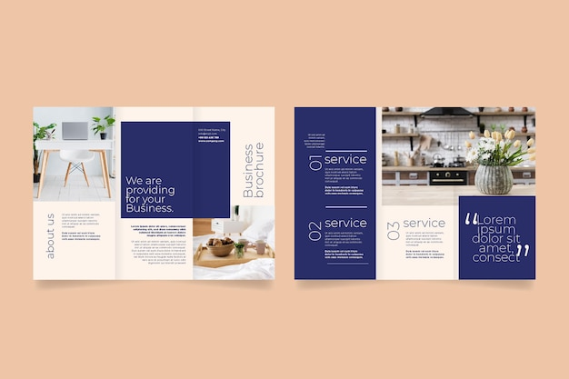 Minimal trifold brochure template with front and back Free Vector