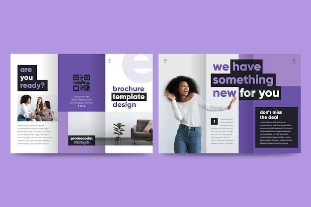 Минимальный тройной шаблон брошюры с фотографией Premium векторы