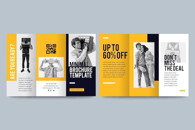Минимальный тройной шаблон брошюры с фотографией Бесплатные векторы