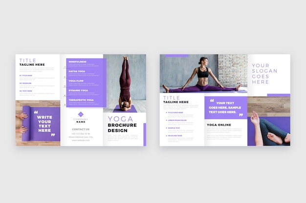 Minimal trifold brochure template with photo Free Vector