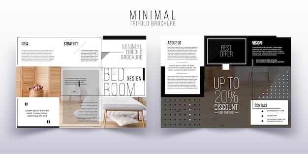 写真付きの最小限の3つ折りパンフレットのテンプレート Premiumベクター