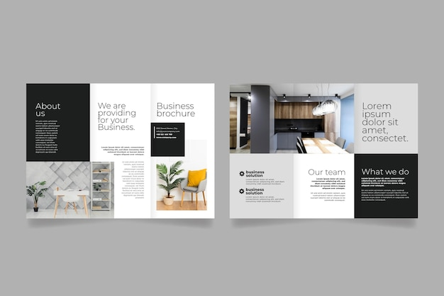 Minimal trifold brochure template Free Vector
