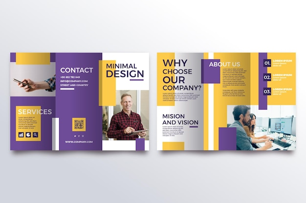 Минимальный тройной шаблон брошюры Premium векторы