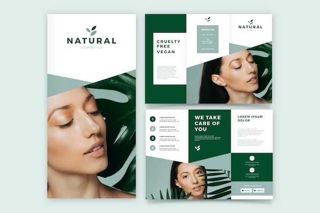 Minimaltrifold brochure with woman avatar Free Vector
