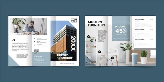 Minimal trifold brochure Free Vector