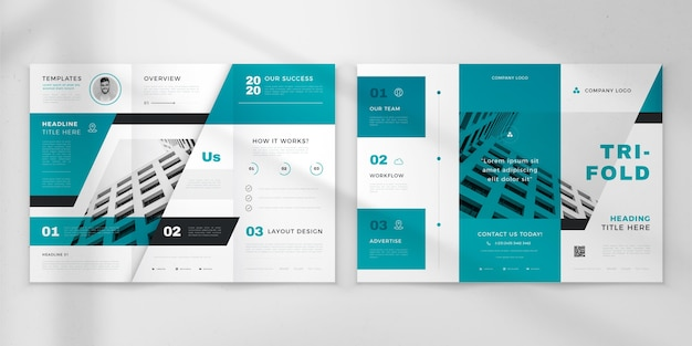 Minimal trifold brochure Free Vector