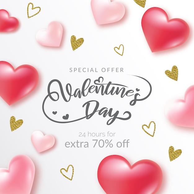 Minimal valentine's day sale background Premium Vector