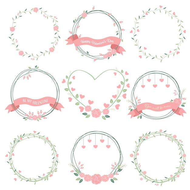 Minimal valentines wreath in pastel color Premium Vector